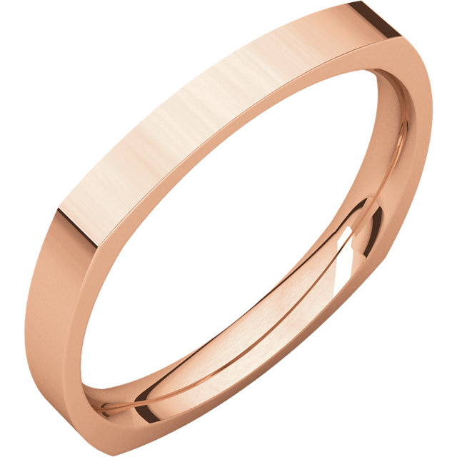 10kt Rose 2.5mm Square Comfort Fit Band