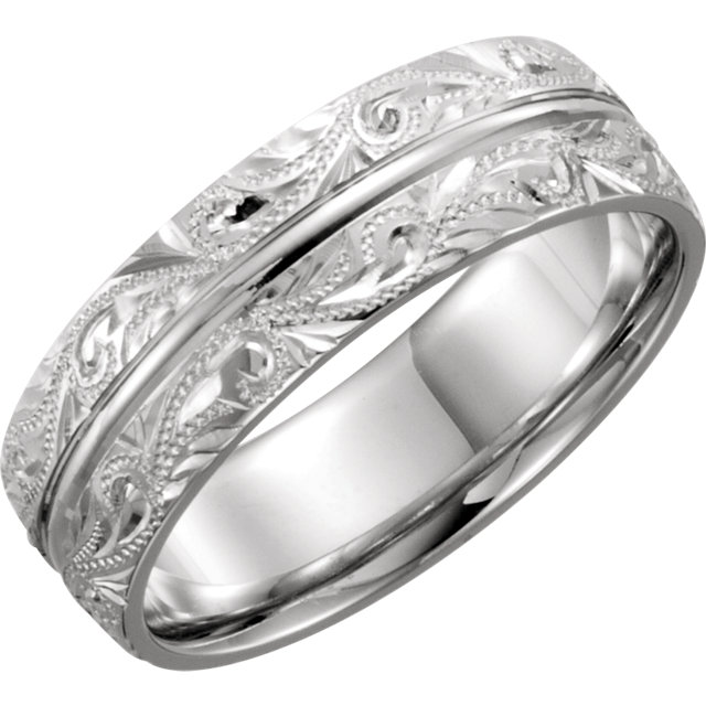 Comfort-Fit Hand-Engraved Band