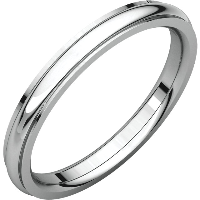 14kt White 2.5mm Comfort Fit Edge Band
