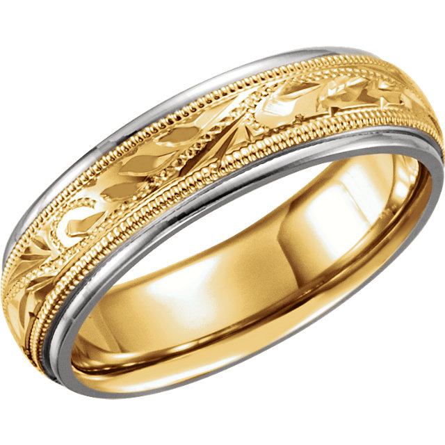 18kt Yellow & Platinum 6mm Hand-Engraved Band Size 9.5
