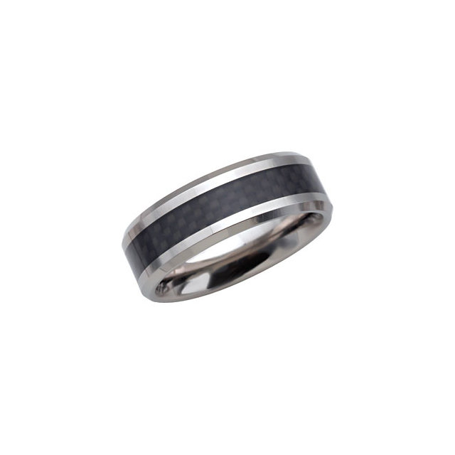 Tungsten 8.3mm Beveled Band with Black Carbon Fiber Center Size 7