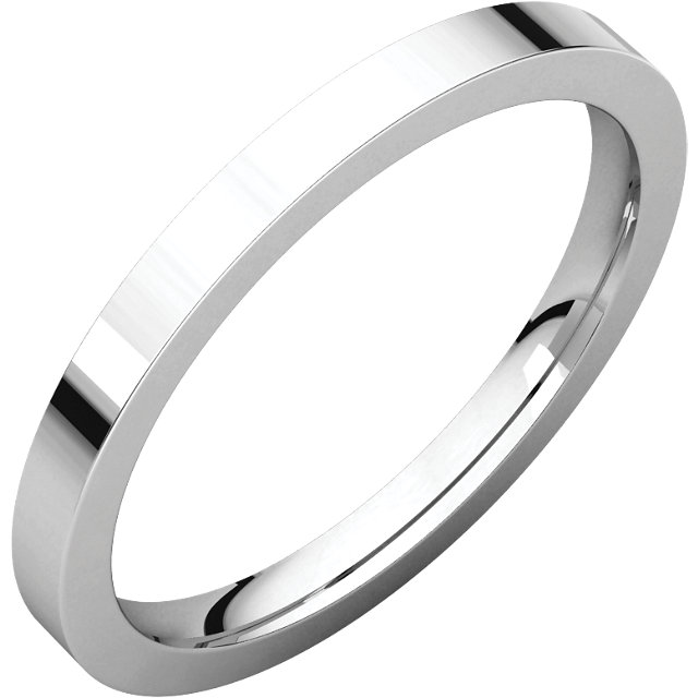 14kt X1 White 2mm Flat Comfort Fit Band