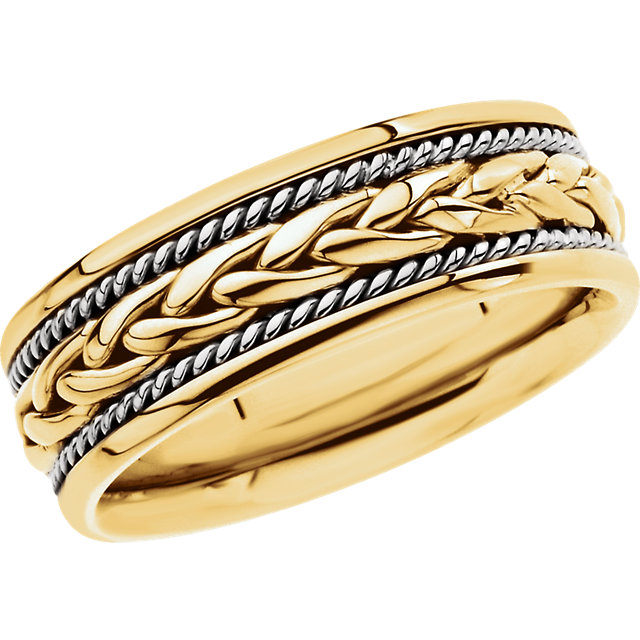 18kt Yellow 8mm Hand Woven Band Size 8.5