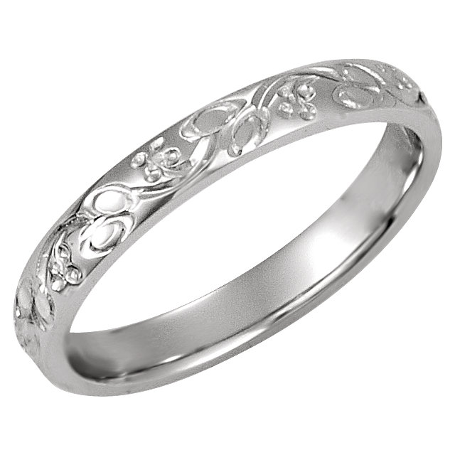 Sterling Silver 3mm Hand-Engraved Band Size 7
