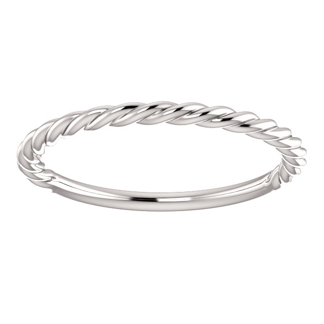 14kt White Rope Design Band