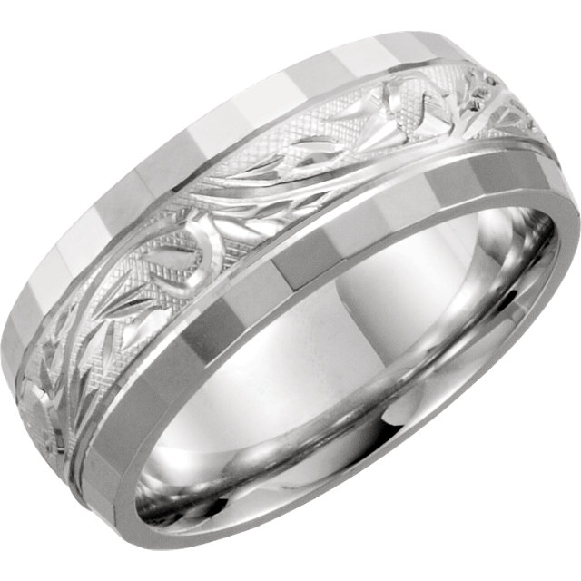 14kt White 7.5mm Hand-Engraved Band Size 5