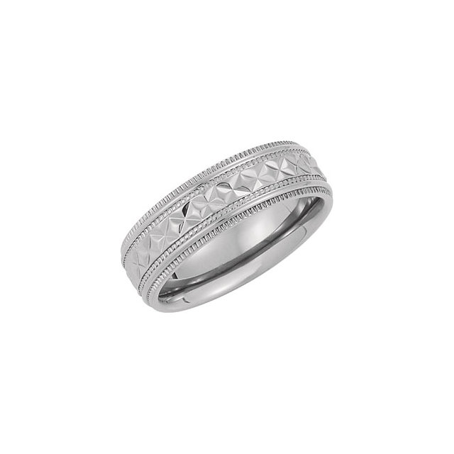 Titanium 7 7mm Polished Diamond Cut Milgrain Band