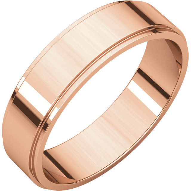 14kt Rose 6mm Fancy Carved Band with Satin Finish Size 11