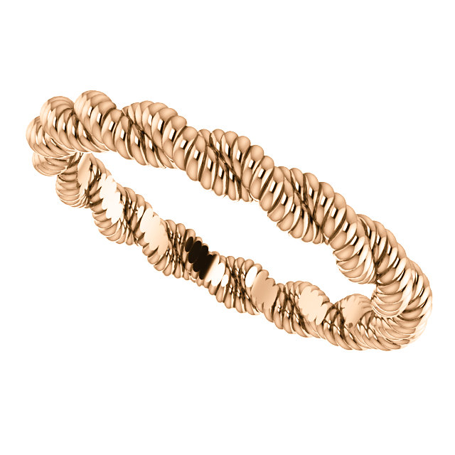 10kt Rose 3mm Twisted Rope Band Size 5.5