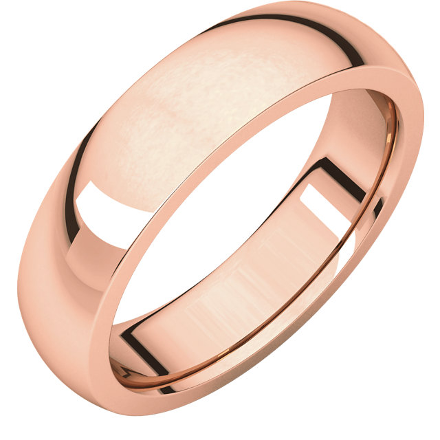 10kt Rose 6 mm Heavy comfort Fit Band