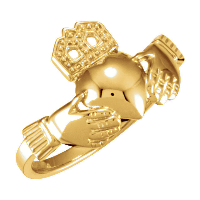 10kt Rose 12x14mm Ladies Claddagh Ring
