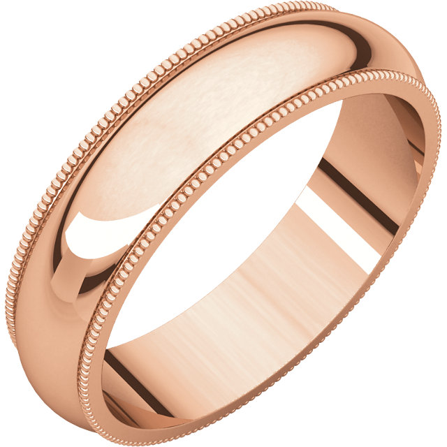 10kt Rose 5mm Milgrain Wedding Band