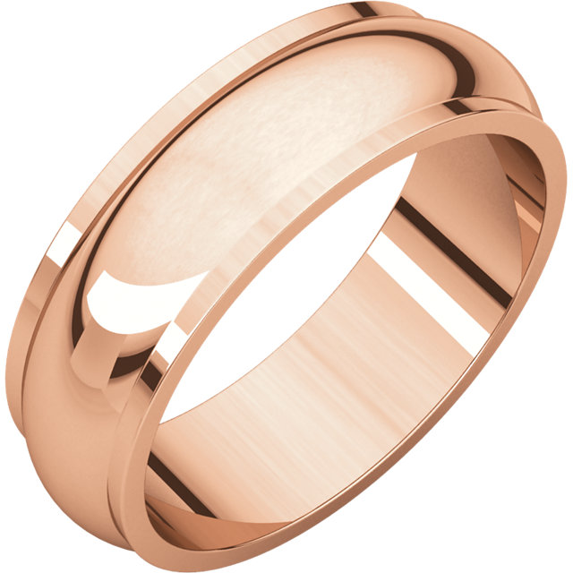 10kt Rose 6mm Half Round Edge Band