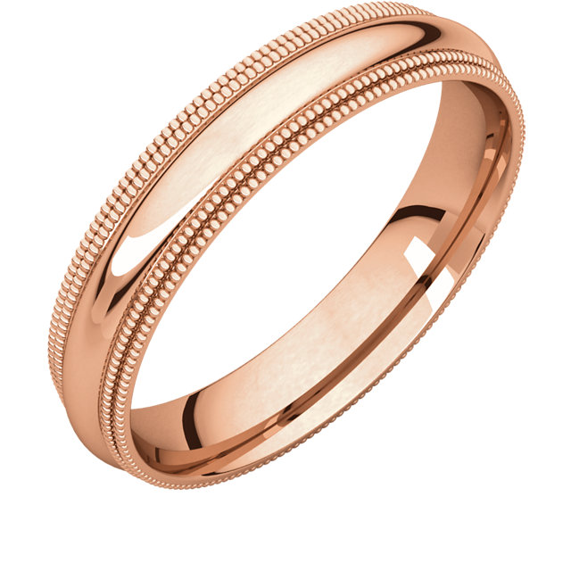 10kt Rose 4mm Double Milgrain Comfort Fit Band