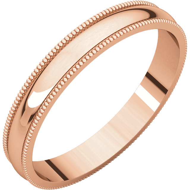 10kt Rose 3mm Light Milgrain Band