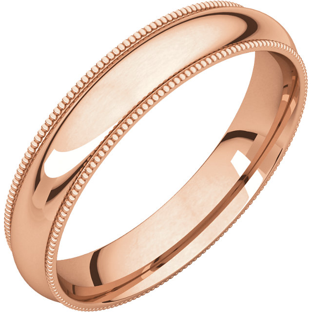 10kt Rose 4mm Milgrain Comfort Fit Band