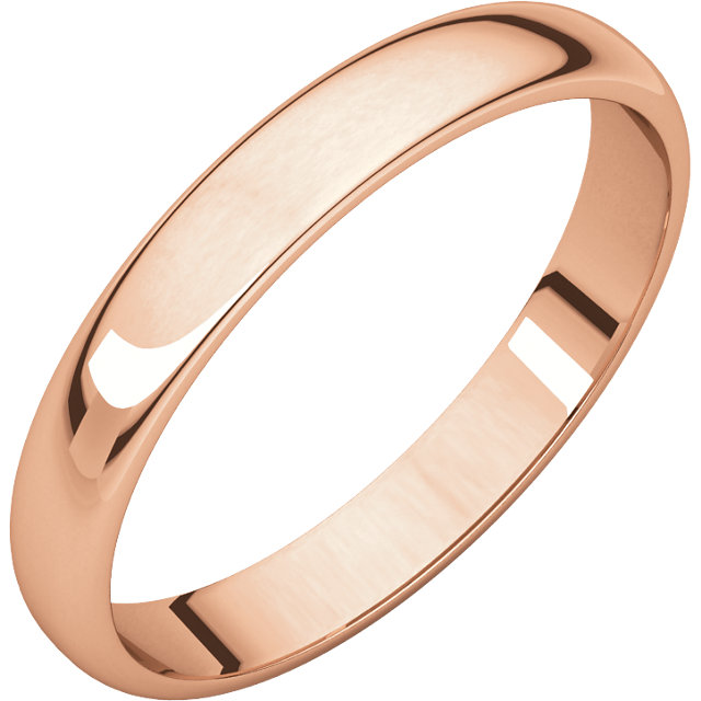 10kt Rose 2mm Half Round Light Band