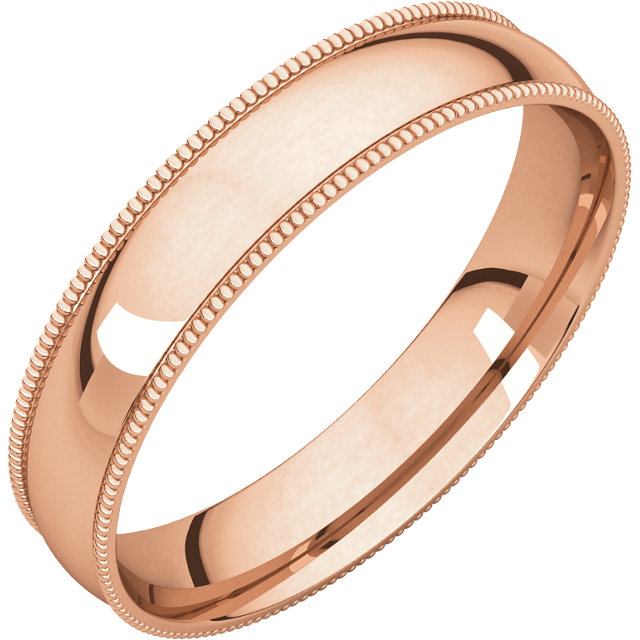 10kt Rose 4mm Light Comfort Fit Milgrain Band