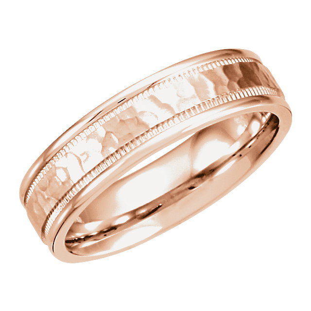 Comfort-Fit Carved Milgrain Band