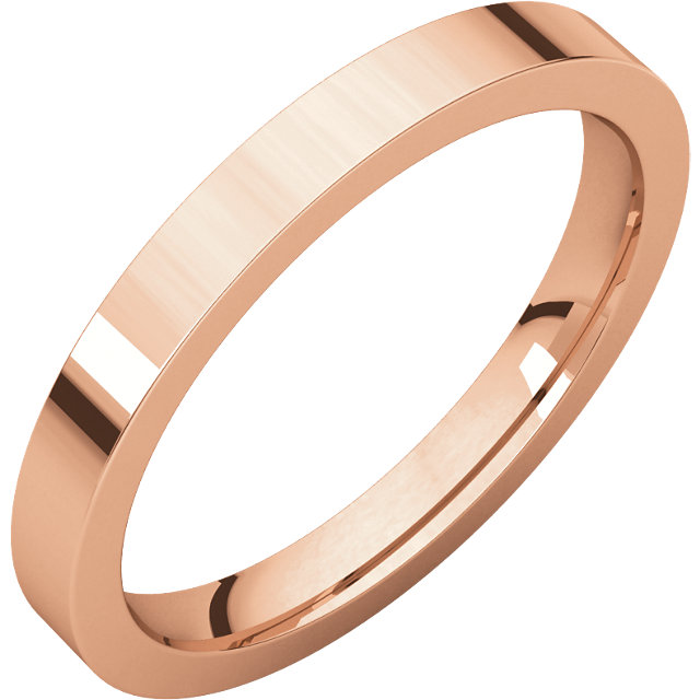 10kt Rose 2.5mm Flat Comfort Fit Band