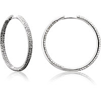 Pave Set Inside/Outside Hinged Diamond Hoop Earrings