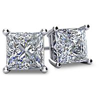 4-Prong Princess-Cut Diamond Stud Earrings with Friction Backs