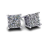 Square Cluster Diamond Stud Earrings