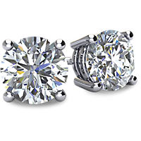 4-Prong Basket Style Diamond Stud Earrings with Friction Backs